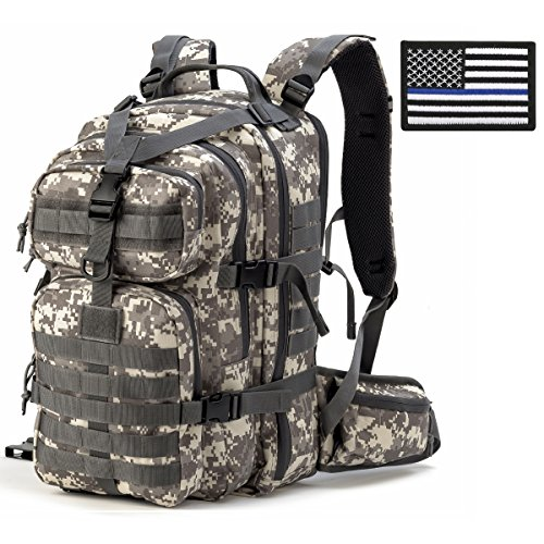 Gelindo Military Tactical Backpack, Hydration Backpack, Army Molle Bug-out Bag, Small Rucksack for Hunting, Survival, Camping, Trekking, 35L, Tactical USA Flag Patch …
