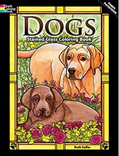 dogs stained glass coloring book dover nature stained glass coloring book