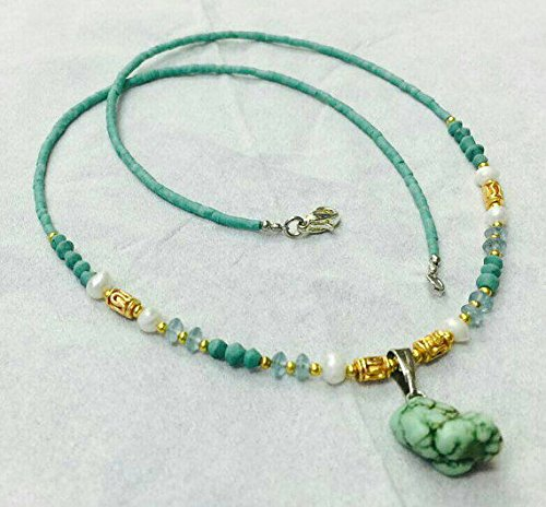 - Afghan Natural Turquoise with Pearls Tiny Seed Beads Necklace and Apatite Pendant Jewelry Make for Order Handmade Gemstone