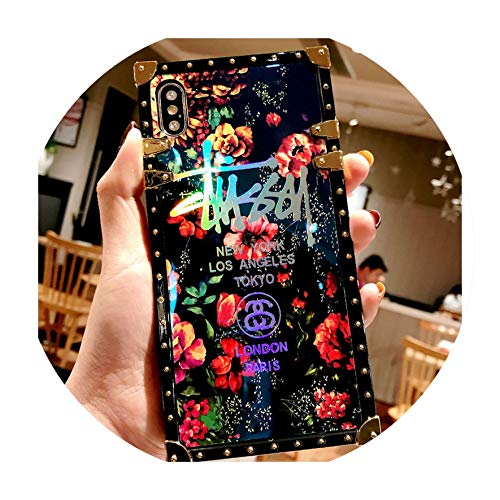 - Female Phone case for iPhone7 8 XS xs max Glittering Back Cover for iPhoneX 7 8plus Laser Blue Light Full-Blown Flowers,Style A,for iPhone 6s Plus