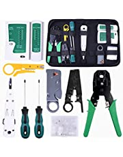 Network Cable Tester, Kuman Ethernet LAN 9pcs Network Repair Tool Kit for RJ45 RJ11 Cat5 Wire Crimper Stripper with Connector Accessories P9200