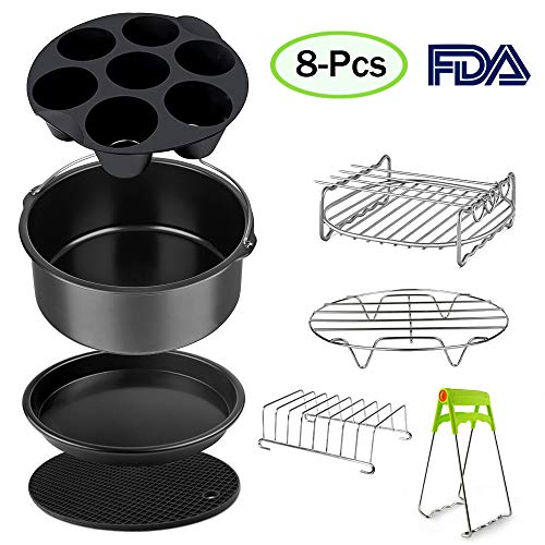 Air Fryer Accessories Set for 3.7, 5.3, 5.5, 5.8 QT,8 pieces for Gowise Phillips and Cozyna Air Fryer