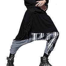 Aubig Men Casual Multi-Wearing Patchwork Loose Baggy Hip-hop Harem Pants Black