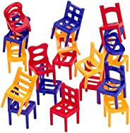 Kicko Chair Stacking Game - 2 Pack - 36 Mini Chairs - Tower Balancing Game, Strategy Games for Kids, Family Ga