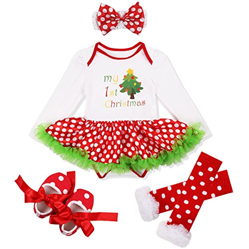YiZYiF Baby Girl's 1st Christmas Party Tutu Costumes 4 Pieces Outfits Set (0-3 Months, Xmas Tree Polka Dots)
