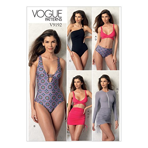 Vogue Patterns V9192E50 Casual Misses' Wrap-Top Bikini, One-Piece Swimsuits, and Cover-Ups, 14-16-18-20-22, Green