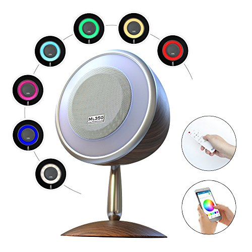 FACE.YOU ML350 Retro Style Wireless Bluetooth Speaker with Various and Dimmable Light Show, 15W Superior Stereo Sound, Bluetooth 4.0, App/Remote Control, Wake Up Light Alarm, Music Timer, Dark Grain by FACE.YOU
