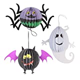 Livingly Light Children's Halloween Decorations Cute Hanging Paper Lanterns Black Purple White Kit, one set of 3 - Bat, Ghost, Spider(Small Size)