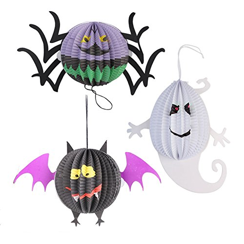 Livingly Light Children's Halloween Decorations Cute Hanging Paper Lanterns Black Purple White Kit, one set of 3 - Bat, Ghost, Spider(Small (Big Lots Halloween Clearance)