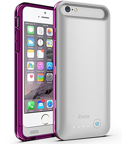 Extended Battery Bat - iPhone 6 Battery Case , Zeox iPhone 6 Battery Case (4.7 Inches) [Silver/Purple]- 3100mAh External Protective iPhone 6 Charger Case / iPhone 6 Charging Case Extended Portable Charger Backup Battery Pack Cover Case Fits with Any Version of Apple iPhone 6 4.7