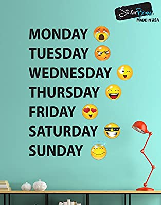 Days of the Week Emoji Faces Vinyl Wall Decal Sticker #6071