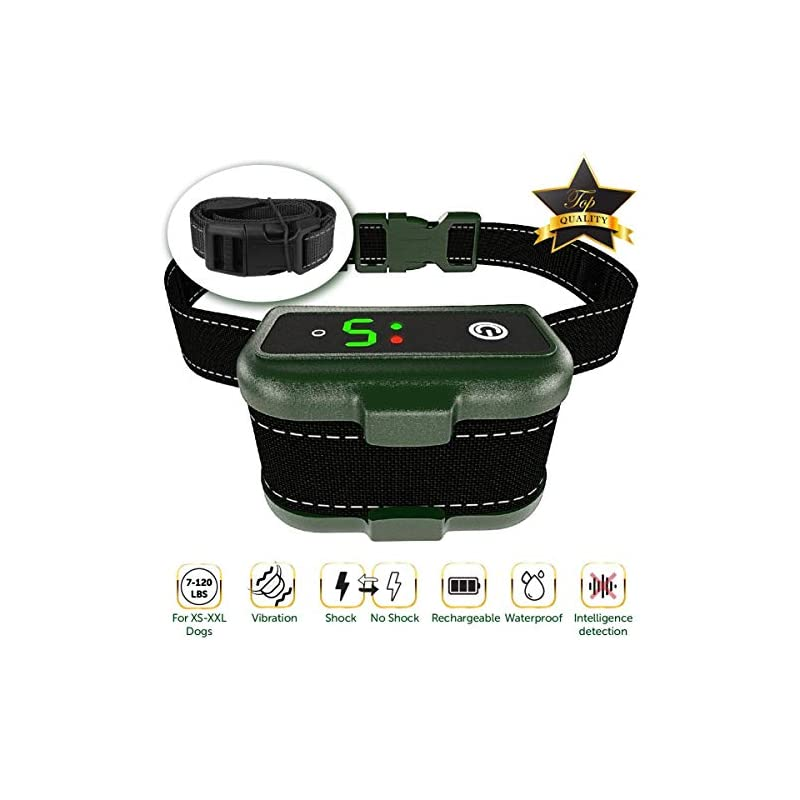 dog supplies online tbi pro [newest 2019] rechargeable bark collar - upgraded smart detection module w/triple stop anti barking modes: beep/vibration/shock for small, medium, large dogs all breeds - ipx7 waterproof
