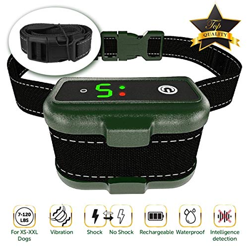 TBI Pro [Newest 2019] Rechargeable Bark Collar - Upgraded Smart Detection Module w/Triple Stop Anti Barking Modes: Beep/Vibration/Shock for Small, Medium, Large Dogs All Breeds - IPx7 - Bark Collar Dog Automatic