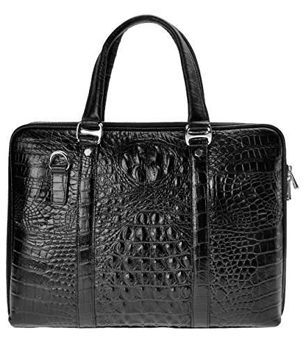 ZLYC Men Cowhide Leather Embossed Crocodile Pattern Briefcase Casual Messenger Bag Fashion Handbag Shoulder Bag, Black