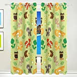 Vantaso Window Curtains 84 Inch Long Little Baby Forest Animals for Kids Girls Boys Bedroom Living Room Polyester 2 Pannels