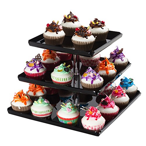 SinoAcrylic Strong Sturdy Acrylic 3-Tier Square Cupcake Stand with Borders and Stable Screw - On Elegant Black Plate