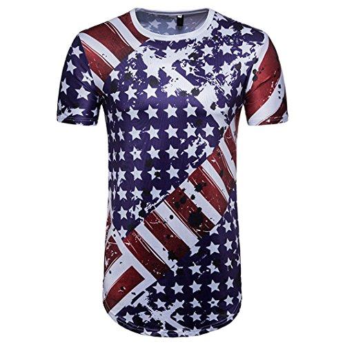 002bca1ce6de3 Qisc Mens Tops Mens Hipster Hip Hop USA American Flag All-Star Crewneck T-Shirt  Tops Blouse (L