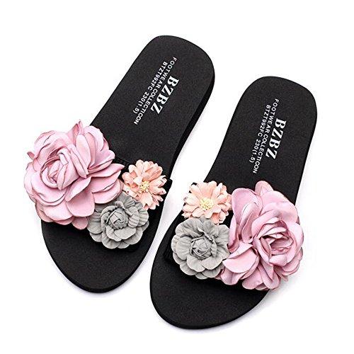 A 36 Sandali A Spiaggia Spesso Fondo A Estate ZHANGRONG dimensioni Versione Coreana Piatte Waichuan Colore Femminile Pantofole Scarpe Con Fatte Da Mano Fiori wqEnHgn1