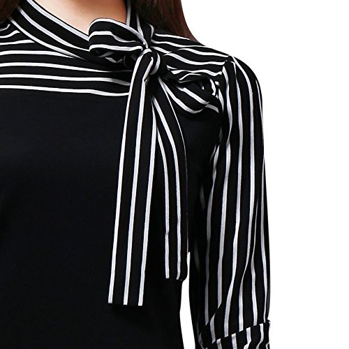 Taille Col Shirt Couleur Imprim Rayures Femme Chemisiers Tops Casual Manches Couleur Unie Blouse et Weant Noir U Femme Grande Pure Blouse Longues Chemisier Blouses I7Uw4aZqx0