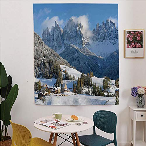 (Apartment Decor Blackout Window curtain,Free Punching Magic Stickers Curtain,Mountain Village Scenery in Winter with Snow Peaks Northern Zone Spot Alps Photo,for Living Room,study, kitchen, dormitory,)