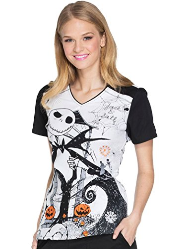 (Cherokee Tooniforms Women's Nightmare Before Christmas Halloween Scrub Top)