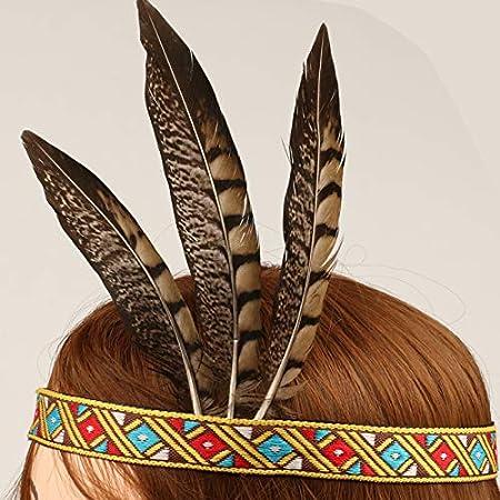 Bohemian Tassels Hair Band Headwear American Headpiece Headwear for Women Girls R STAR Feather Headband Indian Headpiece