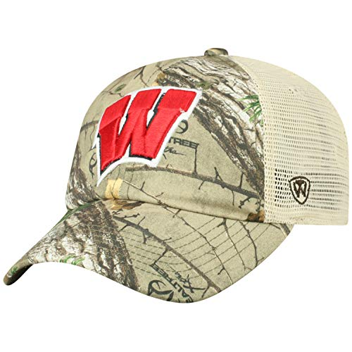 (NCAA Wisconsin Badgers Men's Camo Stock Adjustable Mesh Icon Hat, Real Tree)