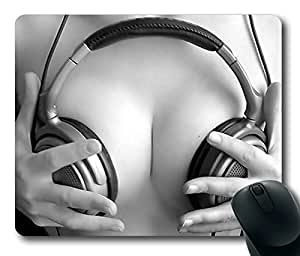 Headphone Squeeze Breest Sexy Masterpiece Limited Design Oblong Mouse Pad by Cases & Mousepads