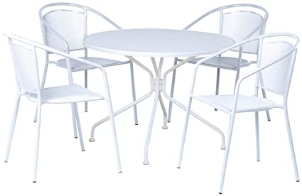 Alfresco Home Martini Cafe Dining Set In Bianca Finish