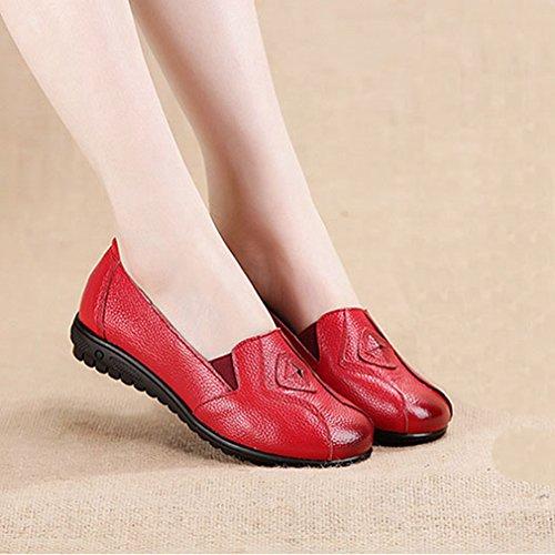 Giy Kvinna Tillfälliga Retro Mockasiner Lägenheter Loafers Komfort Slip-on Klassisk Klänning Walking Öre Dagdrivaren Skor Röd