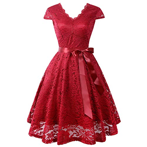 iLUGU Women Ball Party Lace Panel V-Neck Short Sleeve Vintage Waist Lace Dress