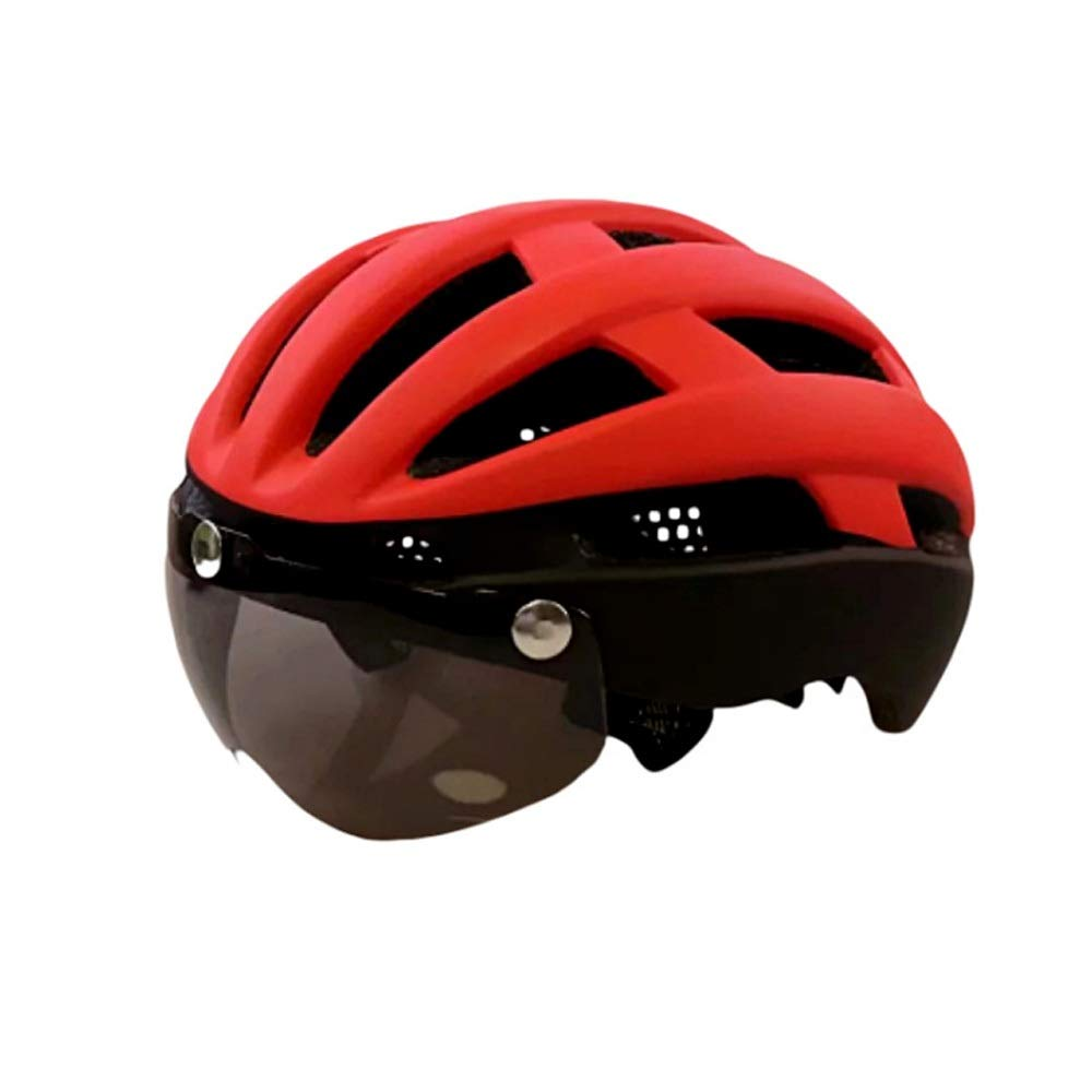 Bhelf New Magnetic Goggles Helmet Mountain Bike Bicycle Riding Helmet Male and Female Integrated Bicycle Helmet Suitable for Head Circumference (57-61cm) Men and Women Safety Helmet (Color : Green)