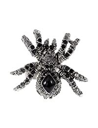 Alilang Silver Tone Clear Black Crystal Rhinestone Spider Insect Adjustable Ring