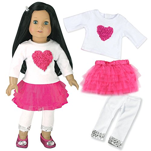 18 Inch Doll Clothes Heart Themed Outfit, 3 Pc. Set, Fits 18 Inch American Girl Doll & More! Heart and Tulle Skirt