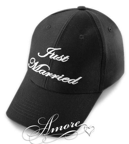 (JUST MARRIED Wedding Baseball Cap BLACK HAT with White Embroidery )