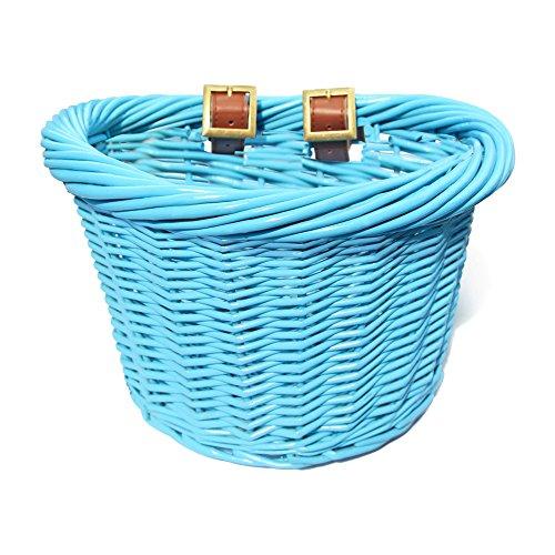 Colorbasket 01440 Junior Front Handlebar Wicker Bike Basket, Blue