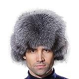 URSFUR Winter Russian Fur Hat Mens Real Silver Blue Fox Fur Ushanka Trapper Cap