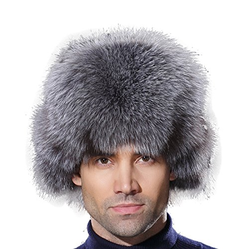 URSFUR Winter Russian Fur Hat Mens Real Silver Blue Fox Fur Ushanka Trapper Cap by URSFUR