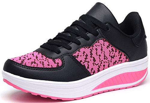 ODEMA Ladies Running Trainers Fitness Gym Sports Shoes Lace-up Sneakers Rose T1E4HhKc