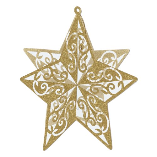 (3-D Glittered Star Centerpiece (gold) Party Accessory  (1 count) (1/Pkg))