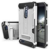 ZTE ZMAX PRO Case, Evocel [Explorer Series Pro] with [Glass Screen Protector] Premium Full Body [Metal Kickstand] [Credit Card Slot] [Holster] for ZTE ZMAX PRO / ZTE Carry, Silver (EVO-ZTECARRY-CK06)