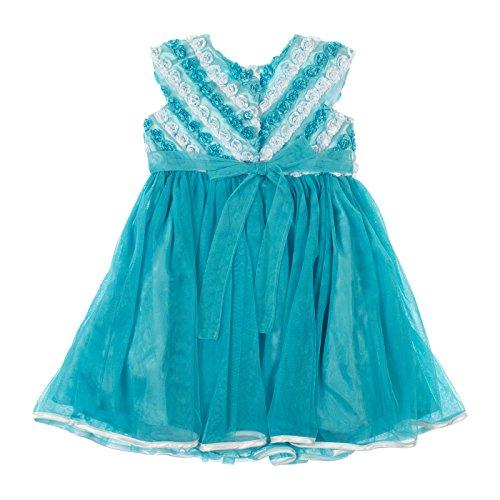 Jona Michelle Little Girls Cap Sleeve Party Dress 4T Light Turquoise & White