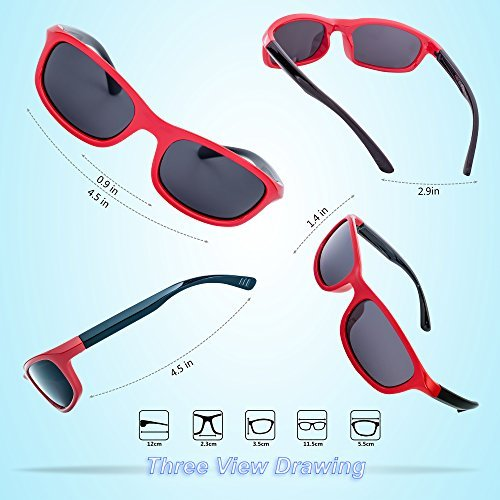 RIVBOS Rubber Kids Polarized Sunglasses for Boys Girls Children Age 3-10 RBK025-2