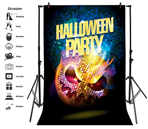 (Leyiyi 3x5ft Photography Background Happy Halloween Party Backdrop Horro Pumpkin Lamp Sparkle Light Spots Sequin Elements Rock Teenagers Carvinal Scary Wallpaper Photo Portrait Vinyl Studio Video)