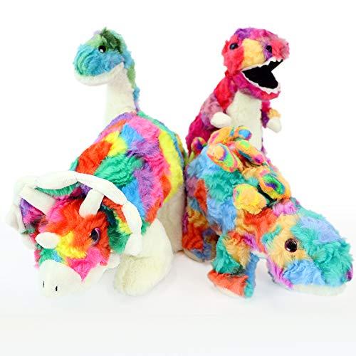 Gitzy Tie Dye Stuffed Dinosaur Toys - Stuffed Animals for Kids - T-Rex, Stegosaurus, Brontosaurus and Triceratops - Set of Four ()