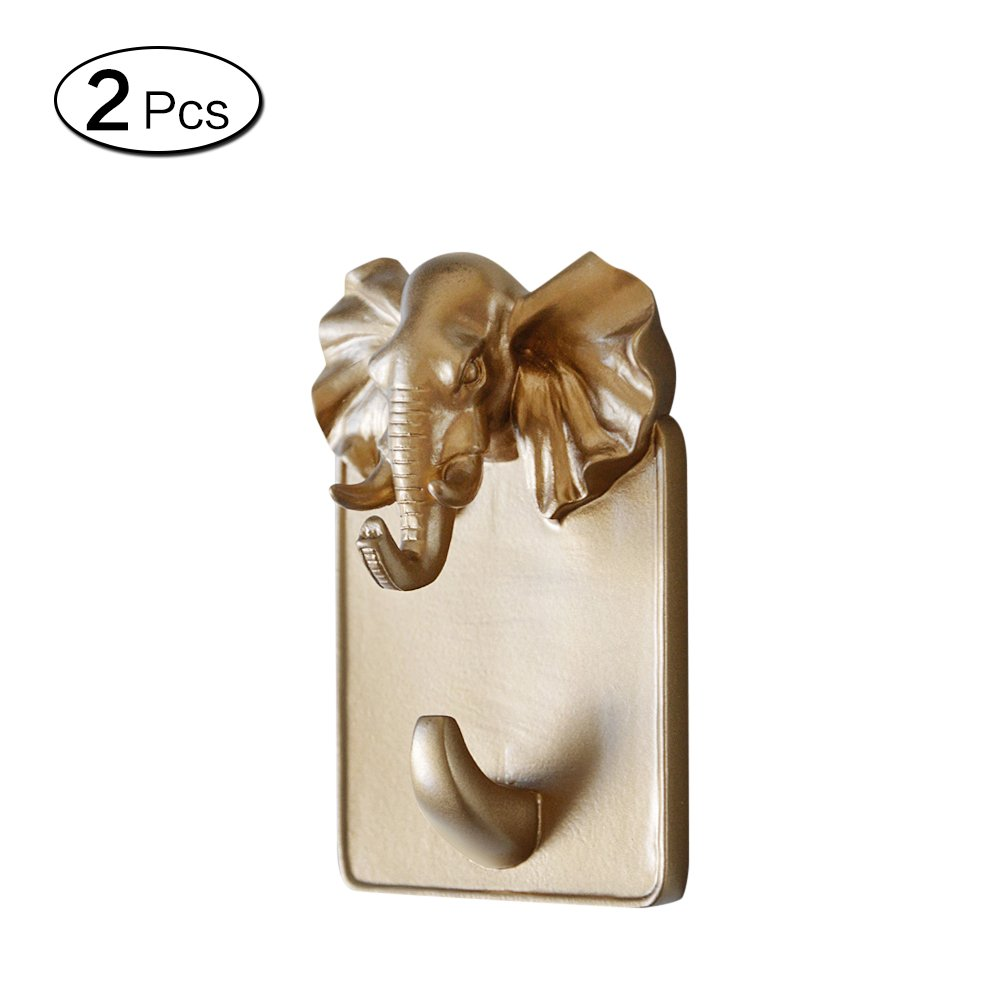 Zhi Jin 2Pc Gold Resin Animals Head Wall Hook Adhesive Door Hanger Decor for Clothes Towels Elephant