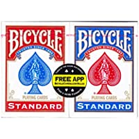2-Pack Bicycle Poker Size Standard Index Playing Cards (Red, Blue or Black)