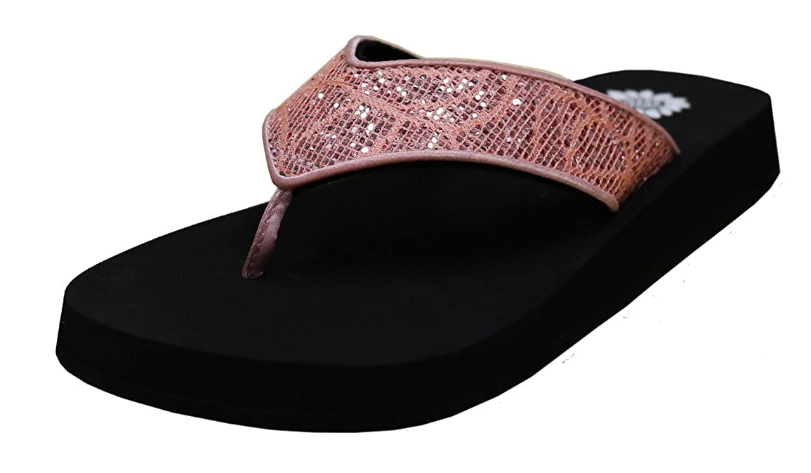 Yellow Box Womens Patrizia Metallic Glitter Platform Wedge Flip Flop Sandal 7.5 B M US, Blush