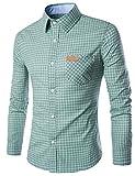 Yiwa Men's Long Sleeve Classical Causual Grid Button Down Shirt Green L