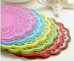 6x Sweet retro translucent crocheted lace coasters silicone pad insulation coasters